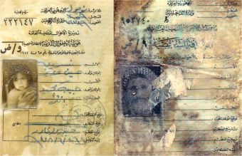 Identification papers (L) of a baby Kurdish girl found at a mass grave site  Faded ID papers of a Kurdish man (R) killed in the Anfal campaign. Photo
